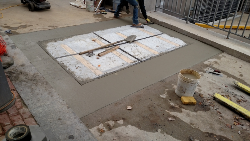 Covering barrier and pouring concrete