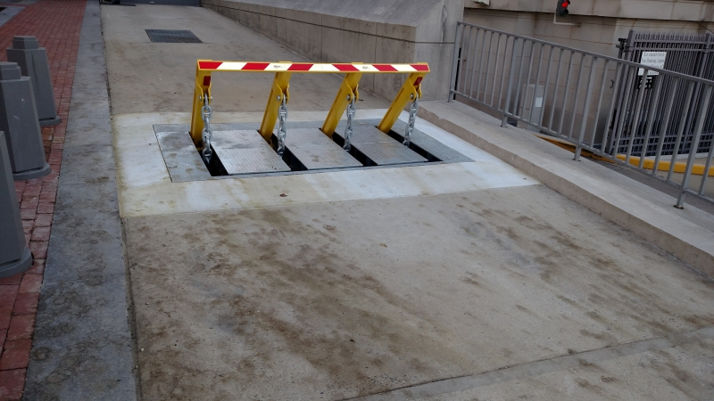 Removal of plastic from the barrier, cleaning the barrier, and leaving the jobsite better than we found it.